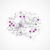 Abstract digital brain,technology concept. Vector stock illustration