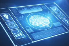 Artificial intelligence and media concept. Abstract digital business interface. Artificial intelligence and media concept. 3D Rendering Stock Photos