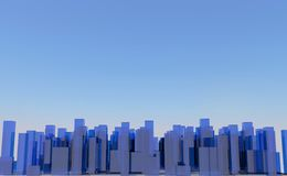 Abstract digital city skylyne background 3D rendering Royalty Free Stock Photography