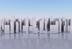 Abstract digital city skylyne background 3D rendering Royalty Free Stock Images