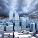 Abstract digital cityscape, shining skyscrapers. Under dark stormy cloudy sky, 3d illustration Royalty Free Stock Photos