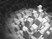 Abstract digital cityscape with tall buildings 3d. Abstract digital cityscape with tall buildings in spotlight, 3d illustration Royalty Free Stock Photography