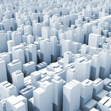Abstract digital cityscape with tall office buildings. Blue toned square 3d illustration Royalty Free Stock Photo