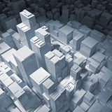 Abstract digital cityscape with tall office buildings 3d. Abstract digital cityscape with tall office buildings in blue spotlight, 3d illustration Royalty Free Stock Photo