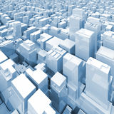 Abstract digital cityscape with tall skyscrapers 3d. Abstract digital cityscape with tall skyscrapers and office buildings, blue toned square 3d illustration Stock Photos
