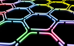 Abstract Digital Colorful Geometric Background. Abstract colorful futuristic hexagonal pattern made with light tubes Royalty Free Stock Photography