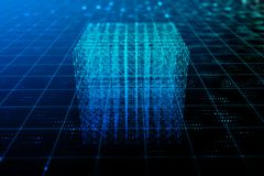 Abstract digital cube background. Geometry and technology concept. 3D Rendering Royalty Free Stock Photo