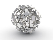 Abstract digital cube. Metal shape Stock Photography