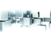 Abstract digital cubes. Abstract digital 3d cubes flow blue shade Stock Images