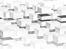 Abstract digital 3d background with white boxes. Pattern Royalty Free Stock Image
