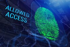 Digital fingerprint backdrop. Abstract digital finger print backdrop with text. Access and password concept. 3D Rendering Stock Illustration