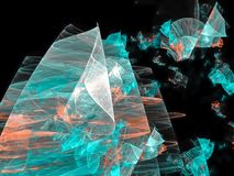 Abstract digital fractal, light effect dynamic chaos energy wallpaper futuristic style ethereal design, party. Abstract digital fractal futuristic design party stock illustration
