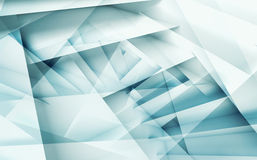 Abstract digital geometric background 3d art. Abstract digital geometric background with blue layers pattern, 3d illustration with multi exposure effect Royalty Free Stock Photos