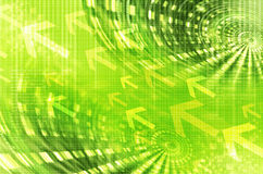 Abstract digital green background with arrows Royalty Free Stock Photo