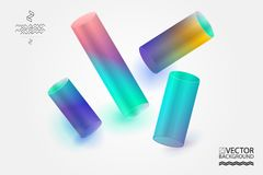 Abstract digital hologram style geometric trendy background. With place for your message. Business or tech presentation, cover tem Stock Images