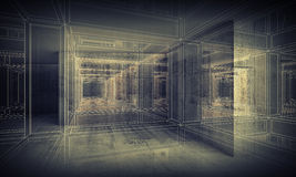 Abstract digital interior 3d background interior Stock Photography