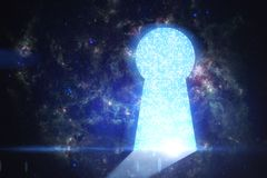 Future and success concept. Abstract digital keyhole door on space background. Future and success concept. Elements of this image furnished by NASA Royalty Free Stock Images