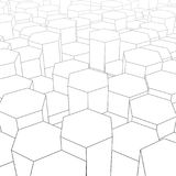 Abstract digital landscape with hexagons on horizon. Cyber or te Stock Images