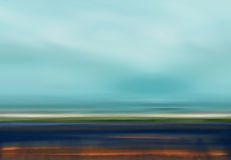 Abstract Digital Landscape Illustration with Sky, Beach and Ocean in Blue Brown Colors Stock Image