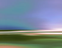 Abstract Digital Landscape Illustration with Sky, Beach and Ocean in Blue Green Colors Royalty Free Stock Image