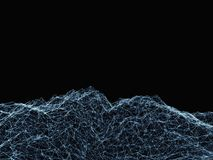 Abstract digital landscape with particles. And plexus effect. 3d illustration on black background stock illustration
