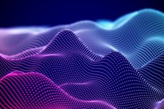 Abstract digital landscape or soundwaves with flowing particles. stock illustration