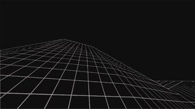 Abstract digital landscape. Wireframe landscape background. Big Data. 3d futuristic  illustration. 80s Retro Sci-Fi Background Stock Photography
