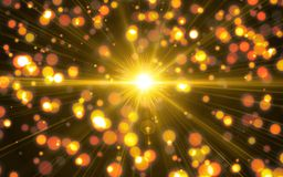 Abstract digital lens flare light with bokeh background. Beautiful sunlight effect.natural lens flare in space stock illustration