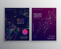 Abstract digital lines music flyer poster template design Stock Image