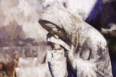 Abstract Digital Oil Painting of Grieving Female. Digital Oil Painting of Grieving Female at the Saint Louis La Fayette Cemetery in New Orleans Royalty Free Stock Photos