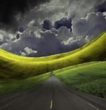Road. Abstract digital painting. Asphalt road in green field Royalty Free Stock Photo