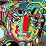 Abstract digital painting of human face, colorful composition  Royalty Free Stock Photography