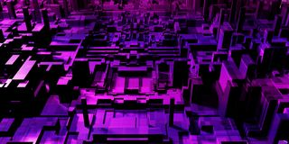 Abstract purple city background. Abstract digital purple city background with buildings and skyscrapers. Urban concept. 3D Rendering Stock Photo