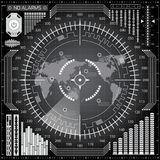 Digital radar screen with world map, targets and futuristic user interface of white, gray and black shades. Abstract digital radar screen with world map, targets Stock Photo