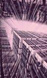 Alien City Under a Powerful Ultraviolet Sky. An abstract digital representation, using fractals, of alien city skyscrapers under a powerful burst of ultraviolet vector illustration