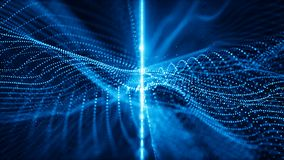 Abstract digital sparkling blue particles wave flow and light motion background stock footage