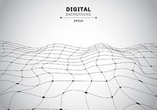 Abstract digital technology black wireframe polygonal landscape white background. Connected lines and dots futuristic vector illustration