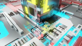 Abstract digital technology circuit board with glowing circuits and data connections royalty free illustration