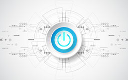Abstract digital technology power button. vector background royalty free illustration