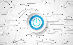 Abstract digital technology power button. vector background stock illustration