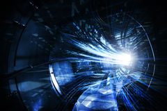 Abstract digital technology tunnel. Abstract digital technology illustration with blue tunnel Royalty Free Stock Photography