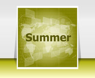 Abstract digital touch screen with summer word, abstract background Royalty Free Stock Images