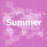 Abstract digital touch screen with summer word, abstract background. Summer party stock illustration