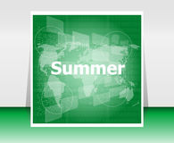 Abstract digital touch screen with summer word, abstract background. Summer time stock illustration