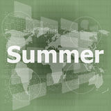 Abstract digital touch screen with summer word Stock Photos