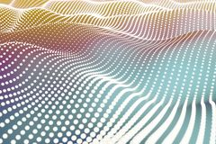 Abstract digital waves background. Abstract digital landscape with flowing particles with cyber or technology background. 3d rendering Stock Image