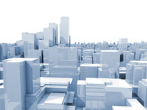 Abstract digital white cityscape 3d illustration. Abstract digital cityscape with blue tall skyscrapers and office buildings, 3d illustration isolated on white Royalty Free Stock Image