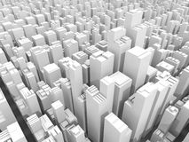 Abstract digital white cityscape, 3d render. Abstract digital white schematic cityscape with tall office buildings, 3d illustration Stock Image