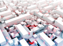 Abstract digital white 3d cityscape, red pattern. Abstract digital white 3d cityscape with soft light blue shadows and red pattern Stock Photography