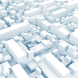 Abstract digital white 3d cityscape with soft light Stock Photo